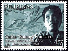 """Philippines.  CARLOS """"BOTONG"""" FRANCISCO, NATIONAL ARTIST FOR VISUAL ARTS, BIRTH CENTENARY     CatNo Mi-4671 Issued 2012-11-04, Php 7. /ldb."""