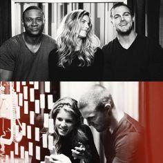 Arrow cast - Diggle, Oliver & Felicity