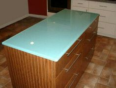 Kitchen Counter Tops On Frosted Painted Glass Kitchen Island Top  Countertops Shown Are Custom