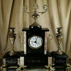 French Mantle Clock Set Slate Marble Antique by OldGLoriEstateSale