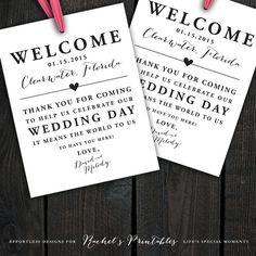 Custom Printable Wedding Welcome Bag Tags, Labels, Hotel Welcome Bags, Destination Welcome Bags, Thank You Tags, Customizable