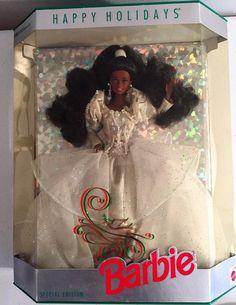 Vintage Happy Holidays Barbie #2396 African American NRFB #Mattel #Dolls