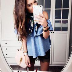outfit-details-chloe-drew-bag-lace-shorts-rebecca-minkoff-off-shoulder-top