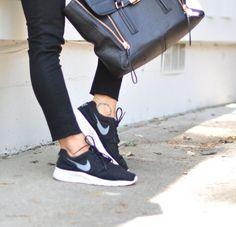 black nike sneakers-black jeans-phillip lim bag [Nike Kaishi Black]