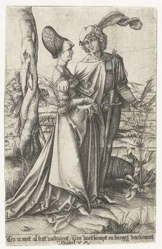 Jong paar en de Dood, Israhel van Meckenem, Albrecht Dürer, 1455 - 1503