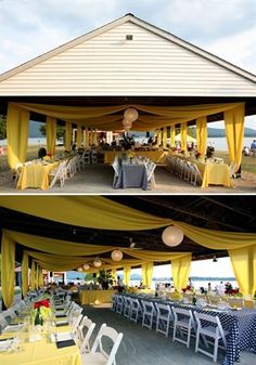 Great idea for wedding reception, rehearsal dinner, anniversary party. baby shower (when you don't know the gender), really almost any type of party. Park Pavilion, Outdoor Pavilion, Pavilion Wedding, Wedding Reception, Wedding Ideas, Wedding Venues, World Theatre, Silvester Party, Little Black Books