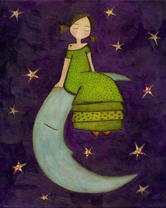 Girl On The Moon ~ Judit Laboria - Art / Artwork Sun Moon Stars, Sun And Stars, Moon Illustration, Good Night Moon, Night Time, Moon Magic, Moon Art, Illustrations, Moon Child