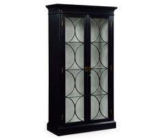 Formal black painted display cabinet