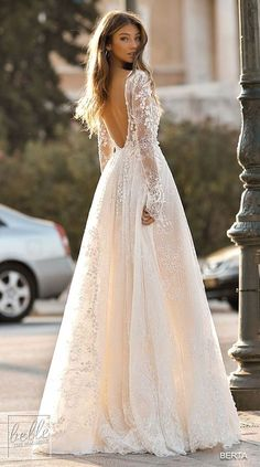 Lace backless ball gown wedding dress with long sleeves princess BERTA Wedding Dresses 2019 - Athens Bridal Collection. Lace backless ball gown wedding dress with long sleeves princess Wedding Dress Empire, Outdoor Wedding Dress, Fall Wedding Dresses, Gorgeous Wedding Dress, Bridal Dresses, Gown Wedding, Lace Wedding, Wedding Outfits, Rustic Wedding