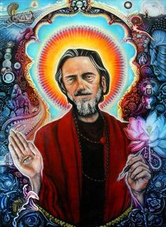 """Portrait of Alan Watts"" - 2007 / acrylic on canvas 18 inches x 24 inches 100 lb…"