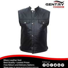 "✔️ Sons of Anarchy SOA Button Closure Vest for Bike Riders ✔️ Made with Top Quality Authentic Suede Leather 🌐 Shop now @ ""Gentry Choice"" Motorcycle Leather Vest, Biker Leather, Cowhide Leather, Suede Leather, Biker Wear, Bike Rider, Sleeveless Jacket, Sons Of Anarchy, Shirt Style"