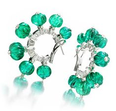 A Pair Of Emerald And Diamond Ear Clips, By Bhagat