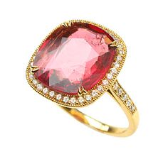 18ct Yellow Gold and diamond Cushion cut Spinel rin