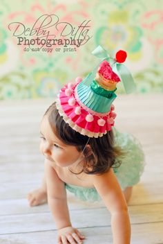 First birthday baby girl. Birthday pink yellow blue red party hat. Debby  Ditta Photography 028ce91a52f2