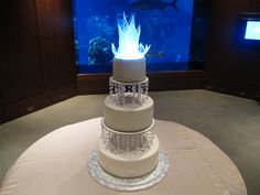 A great cake featured at the Living Seas VIP Lounge in Epcot for a private wedding. Orlando DJ Chuck Johnson hosted this great wedding at the Walt Disney World Resort. -DJ Chuck Johnson, Orlando Wedding DJs