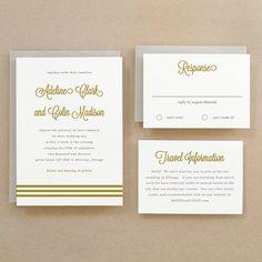 Instant Download - Gold Script - DIY Printable Wedding Invitation Suite