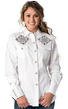 Roper® Women's White with Gray Embroidery and Screen Print Long Sleeve Western Shirt | Cavender's
