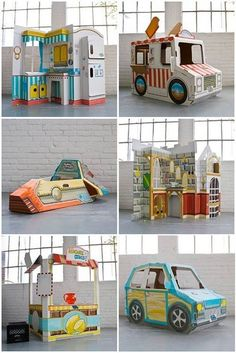 32 Enchanting Cardboard Playhouse Design Ideas For Kids That You Will Love It Cardboard Playhouse, Diy Playhouse, Cardboard Crafts, Diy For Kids, Crafts For Kids, Diy Karton, Diys, Diy Toys, Play Houses