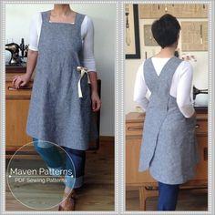 The Maria Wrap Apron - PDF sewing pattern - Japanese apron - womens sewing… Sewing Aprons, Sewing Clothes, Diy Clothes, Dress Sewing, Clothes Women, Pdf Sewing Patterns, Sewing Tutorials, Clothing Patterns, Apron Pattern Free