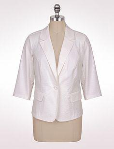 Plus Size Textured Jacquard Blazer | Dressbarn