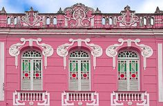 stained glass windows in ornate pink building São João del Rey | Flickr - Photo Sharing!