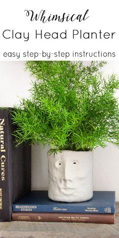 Clay Head Planter - Stacy Risenmay Do It Yourself Decorating, Do It Yourself Projects, Head Planters, Diy Planters, Garden Oasis, Indoor Garden, Growing Greens, Flower Pots, Diy Flower