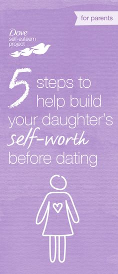 Girls are under enormous pressure to start dating, seeing it as a way to validate their self-worth. It is important to build your daughter's self-esteem and body confidence before she enters the arena of teen dating issues. But how? One way is to give her positive examples of women that have high self-esteem and are good role models. Click through to see other tips and advice. For more info—head to www.pinterest.com/selfesteem. #SelfEsteemProject