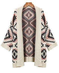 Apricot Long Sleeve Geometric Knit Cardigan Sweater - Sheinside.com