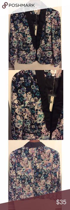 Floral blazer Tuxedo style floral blazer.  Black/blue/lilac.  Never worn.  Still has tags. LC Lauren Conrad Jackets & Coats Blazers