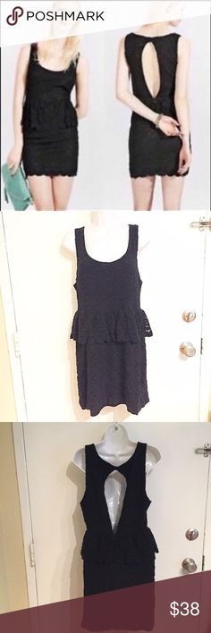 """URBAN OUTFITTERS Black Lace Open Back Peplum Dress Urban Outfitters Pins & Needles black lace Peplum dress with Cutout back. Size large. Measures 17.5"""" flat from armpit to armpit and just under 35"""" long. Has some stretch. #uo #urbanoutffiters #pinsandneedles #black #lace #peplum #dress #cutout #sexy #lbd #littleblackdress #large #punkydoodle  No modeling Smoke free home  I do discount bundles Urban Outfitters Dresses"""