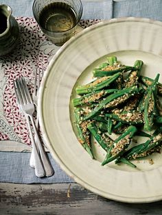 Coconut–stuffed okra recipe from Anjum's Indian Vegetarian Feast by Anjum Anand | Cooked