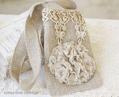Burlap Bag with Vintage Lace