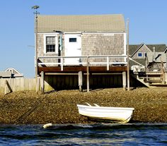 Beachfront fishing shack on Sandy Neck, Cape Cod, MA.