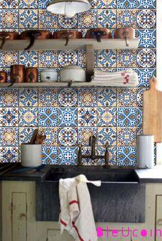 Fliesenaufkleber - Fliesenaufkleber für Küche Bad Portugiesisch Stil - ein Designerstück von Bleucoin bei DaWanda