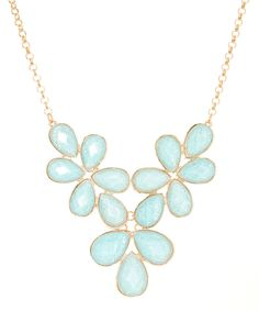 Majestic Blue Floral Glitter Faceted Bib Necklace by  #zulily #zulilyfinds