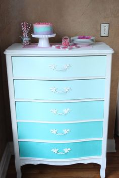 Beautiful pastel cake, on a perfect blue ombre dresser! - from Crave Indulge Satisfy Beautiful pastel cake, on a perfect blue ombre dresser! - from Crave Indulge Satisfy Refurbished Furniture, Furniture Makeover, Painted Furniture, Diy Furniture, Bedroom Furniture, Furniture Stores, Furniture Online, Office Furniture, Furniture Design