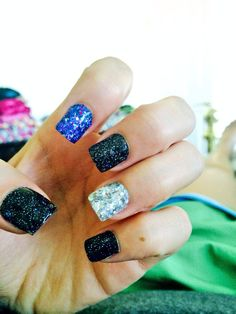 Purple, black, and silver galaxy gel nails #gel #cute #nails #sparkly