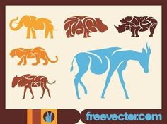 African Animals s Free Vector Silhouette Clip Art, Animal Silhouette, Free Vector Graphics, Free Vector Images, Vector Design, Vector Art, African Animals, Zoo Animals, Sea Creatures