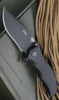 HTM Gun Hammer Assisted EDC Folding Pocket Knife Blade, Non-Glare, DLC, Bowie Blade, Plain - Everyday Carry Gear