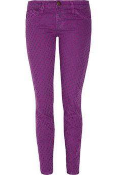 Perfect Colour And Polka Dots Perfection Purple Skinny Jeans Pants Cropped