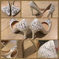 Harry potter decoupage shoes/wedding shoes More