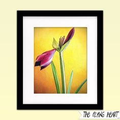 Printable wall art decor: Floral stylized photography, Amaryllis, flower art, close up, red, green, yellow with texture by TheFlyingHearts, $5.00