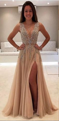 d76f95b8da3 Champagne Abendkleider Lang Günstig V Ausschnitt Tüll Abendmoden  Abiballkleider Langes Abendkleid