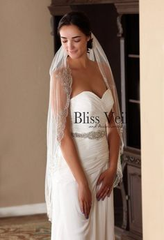 Stunning beaded veil with intricate rhinestones and bugle bead design. This veil is a showstopper and will be sure to get attention at your wedding! Veil is available in 45 knee length. Shorter lengths are available, please contact me for details. Available in white and ivory. Not Church Wedding Ceremony, Chapel Wedding, Rustic Wedding, Ivory Wedding Veils, Wedding Attire, Wedding Dresses, Wedding Trends, Wedding Ideas, Wedding Looks