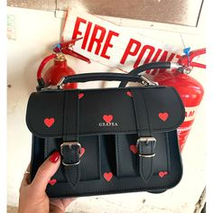 Black Leather Micro Satchel by Grafea with Red Hearts Print Source by ipelengaudreym Trendy Purses, Cute Purses, Cheap Purses, Leather Satchel, Leather Handbags, Fashion Bags, Fashion Backpack, Fashion Outfits, Sacs Design