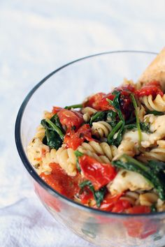Eat Real Healthy Food | Roasted Red Pepper and Spinach Pasta Salad | http://eatrealhealthyfood.com