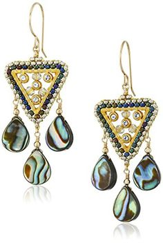 Miguel Ases Abalone and Swarovski Mini Downturned Triangle Chandelier Drop Earrings >>> More info could be found at the image url.