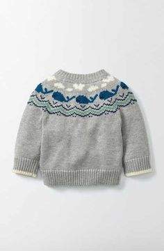 "Whales Knitted Sweater Boden ""Whales Knitted Sweater 71590 Knitted Sweaters at Boden"", ""Your little bundle just got even more joyful with our supersoft Baby Boy Knitting Patterns, Baby Sweater Knitting Pattern, Knit Baby Sweaters, Knitting For Kids, Baby Boy Sweater, Knitting Wool, Icelandic Sweaters, Kids Outfits, Clothes"