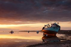 Boats glow in an Instow sunset 2