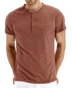 aa3678b2f93 Zhang Men's Casual Slim Fit Short Sleeve Henley T-shirts Cotton Shirts  VG-Orange-US L: Size Chart (Inch): br br*US S: br br*US M: br br*US L: br  br*US br ...